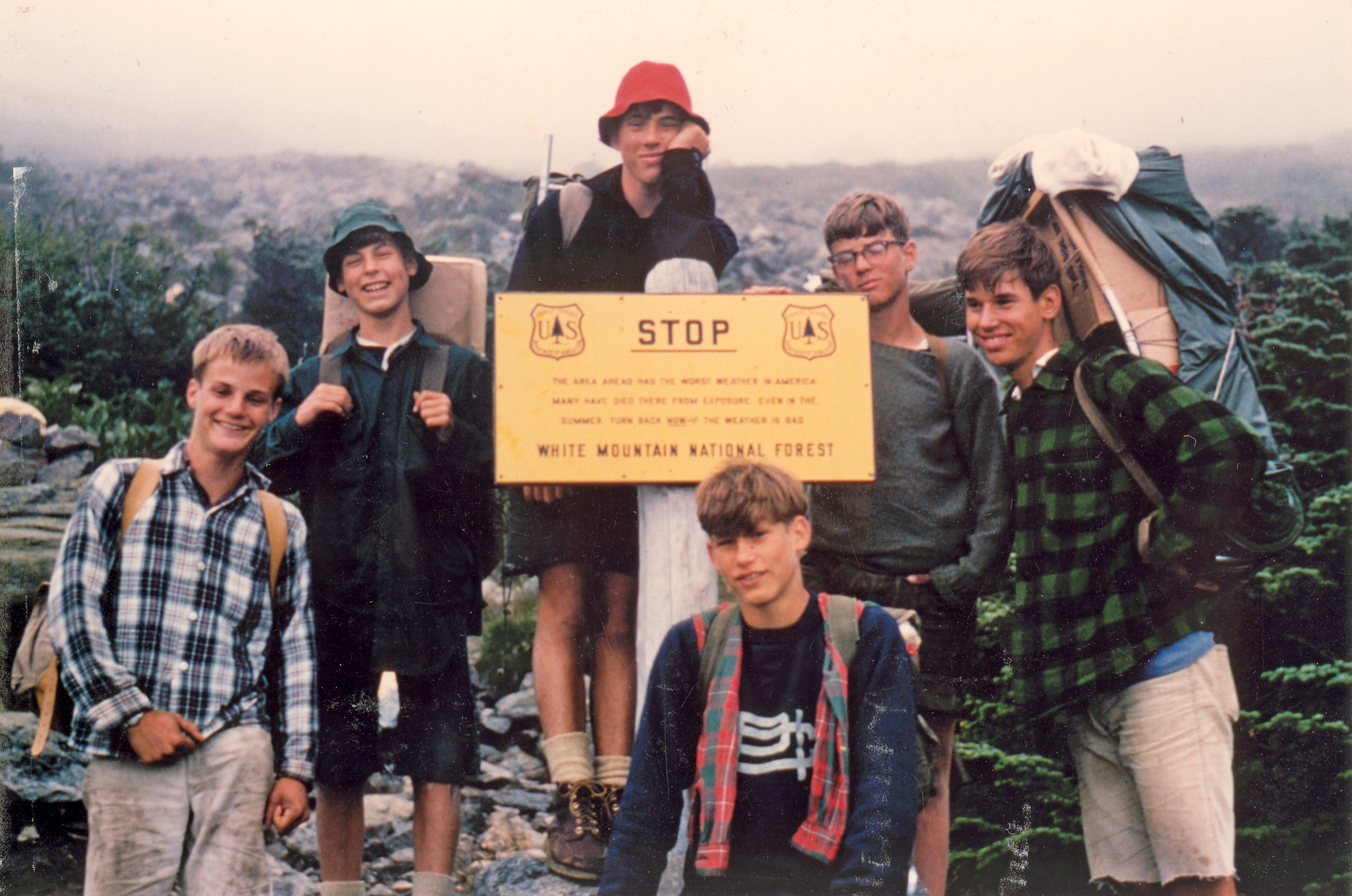 1965.  From left to right: Howard Ferguson, Coly Hoyt, John Timkin, John Goodhue, Jeff Kilbreth, and Dave Carmen on their way up Mt. Washington