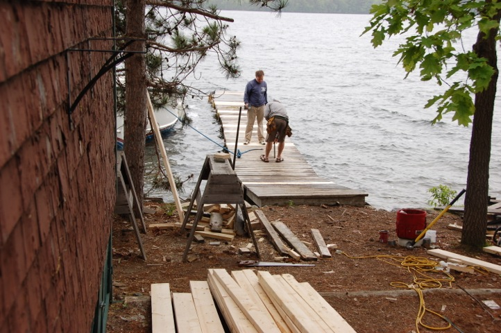 Ned Bishop and Tom Duggan at work on the Kitchen Dock