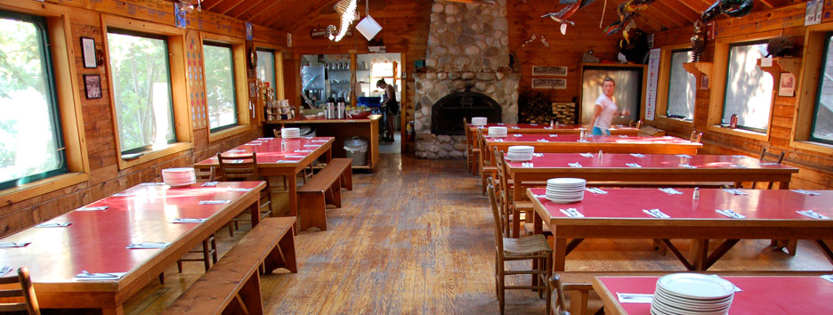 The dining hall at Pine Island Camp