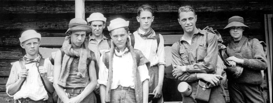 An old photo of boys at Pine Island Camp.