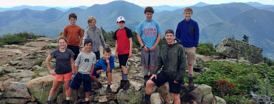 Pine Island Campers and counselors on a mountain hiking trip.